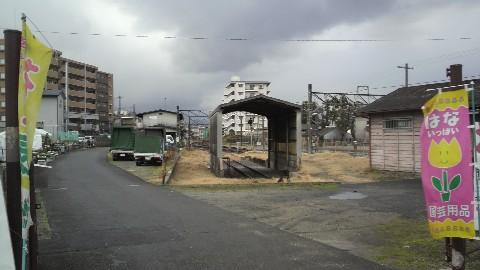 京終駅の旧貨物ホームと保線区