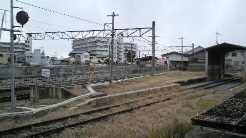 JR京終駅の構内(旧貨物ホームから)