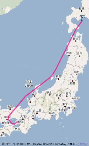 新千歳→関西の本日の航路