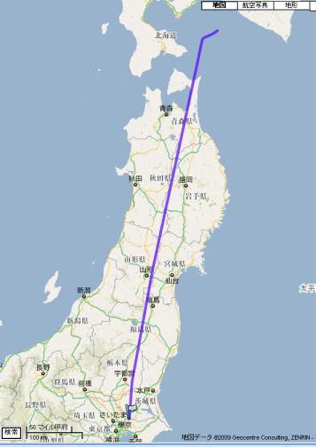 本日のANA63便の航路