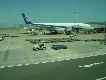 さっきまで乗っていたANA22便の機材全景