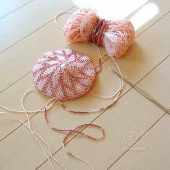 111107 フェリシモの編み物キット・今日編んだところまで(外側 ビーズ編み込み模様)