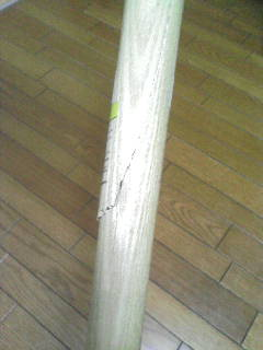 折れちゃった城島健司モデルの木バット_アップ