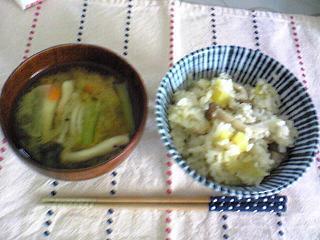 栗ご飯、味噌汁061004