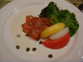 Crushed Black Seame,Pepper Corn in Smoked Salmon with Horserdish Dressing