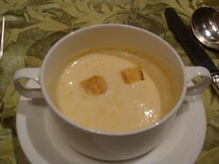 Crem of Sweet Corn Soup with Crouton