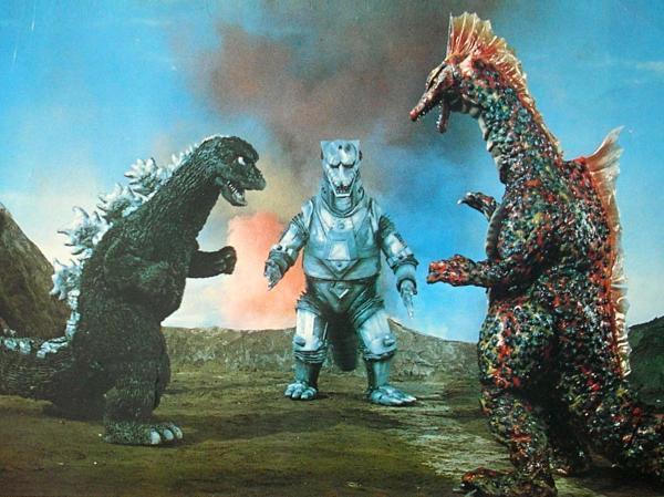 1975 年東寶怪獸特攝片《機械哥吉拉的逆襲》:哥吉拉、機械哥吉拉以及泰坦龍。