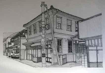 鉛筆画♪つるぎ町貞光、明治橋の福島幸福堂♪