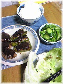 0525ハンバーグとピーマン肉詰めめでお野菜も美味しい♪ボリュームアップ♪.jpg