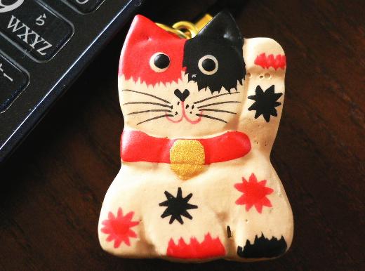 木彫り招き猫ストラップ1